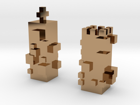 Cubic Chess - King & Queen in Polished Brass