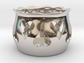 Tea Light Holder Heart in Platinum