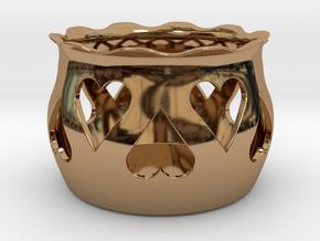 Tea Light Holder Heart in Polished Brass