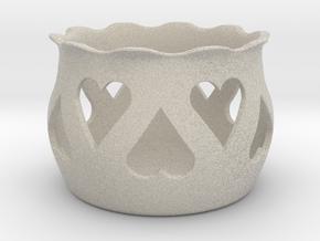 Tea Light Holder Heart in Natural Sandstone