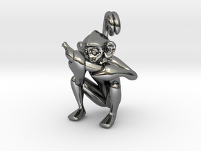 3D-Monkeys 344 in Fine Detail Polished Silver