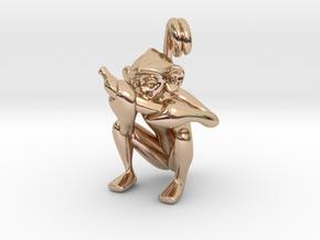 3D-Monkeys 344 in 14k Rose Gold Plated Brass