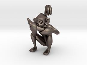 3D-Monkeys 344 in Polished Bronzed Silver Steel