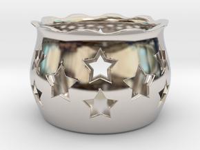 Tea Light Holder Star in Platinum