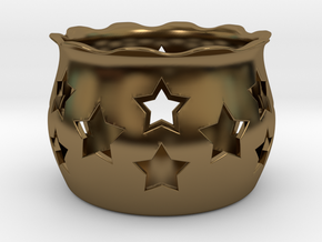 Tea Light Holder Star in Polished Bronze