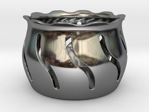 Tea Light Holder Wave in Fine Detail Polished Silver