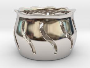 Tea Light Holder Wave in Rhodium Plated Brass