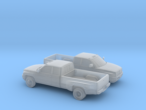 1/160 2X 1994-01 Dodge Ram Extendet Cab Dually in Smooth Fine Detail Plastic