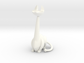 Long-neck Cat in White Strong & Flexible Polished