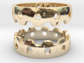 Hex Reminder Ring Size 6 in 14K Yellow Gold