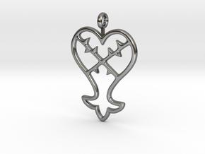 Kingdom Hearts Pendant in Fine Detail Polished Silver
