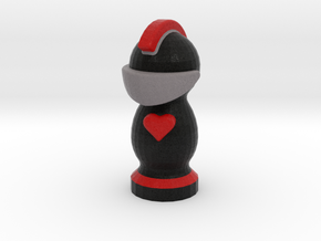 Catan Robber Knight Blk Red Heart in Full Color Sandstone