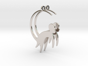 Cute Monkey Earrings in Rhodium Plated Brass