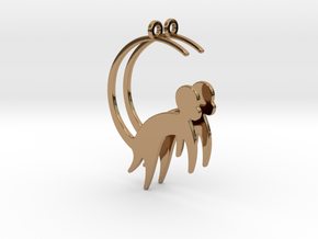 Cute Monkey Earrings in Polished Brass
