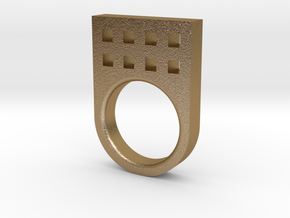 Small Tower Ring in Polished Gold Steel
