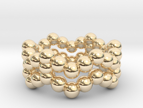 Ring Sphere 2 waved in 14K Yellow Gold