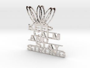 KEEP CLAM AND STAY STRONG KEYCHAINS in Rhodium Plated Brass