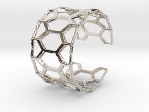 Honey cuff bracelet (small/medium, loose fit) in Rhodium Plated Brass