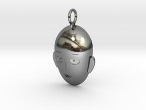 Saitama Face Pendant in Fine Detail Polished Silver