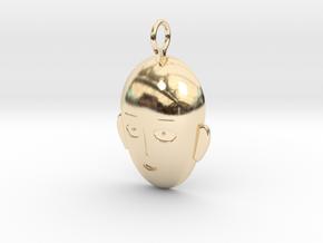 Saitama Face Pendant in 14k Gold Plated Brass