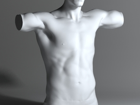 Man Body Part 004 scale in 4cm in White Processed Versatile Plastic