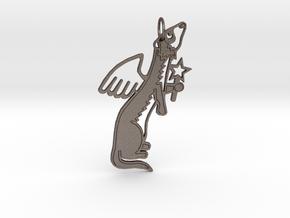 FERRET ANGEL KEYCHAIN SIDEWAYS in Polished Bronzed Silver Steel