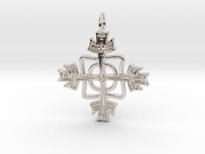 Kreuzchen modern verdreht in Rhodium Plated Brass
