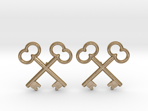 The Society of the Crossed Keys Lapel Pins in Polished Gold Steel
