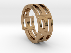 Geometri-K ring (52) in Polished Brass