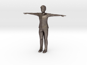 Low Poly Male in Polished Bronzed Silver Steel