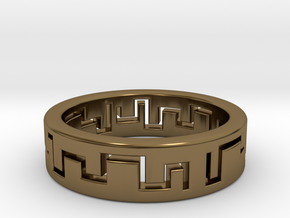 Labyrinth Ring in Polished Bronze