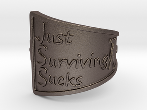Just Surviving Sucks Satire Ring Size 8 in Polished Bronzed Silver Steel