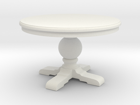 1:48 Round Trestle Table in White Natural Versatile Plastic