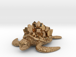 Crystal Turtle in Polished Brass