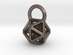 Icosahedron Frame Pendant in Polished Bronzed Silver Steel
