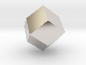 rhombic dodecahedron in Rhodium Plated Brass