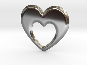 Heart within a Heart in Fine Detail Polished Silver