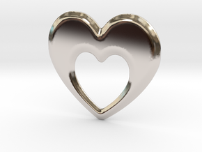 Heart within a Heart in Rhodium Plated Brass