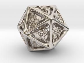 Tengwar Elvish D20 in Platinum: Small