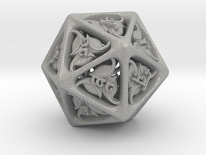 Tengwar Elvish D20 in Raw Aluminum