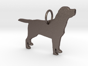 Labrador dog full body silhouette pendant  in Polished Bronzed Silver Steel