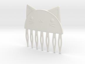 Cat Comb in White Natural Versatile Plastic
