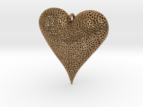 Valentines Day Voronoi Heart Pendant in Natural Brass