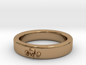 Smooth Anatomical Skull Ring in Polished Brass