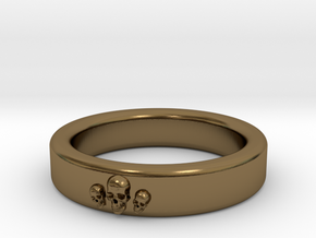 Smooth Anatomical Skull Ring in Polished Bronze