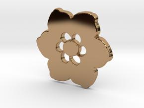 Happy Flower Pendant in Polished Brass