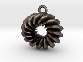 Old Fashioned Donut in Polished Bronzed Silver Steel