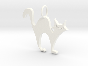 Halloween Cat Pendant in White Strong & Flexible Polished