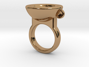 Coffe Cup Ring in Polished Brass