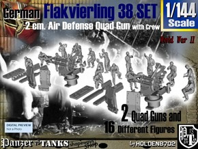 1-144 Flakvierling 38 Set 1 in Smooth Fine Detail Plastic
